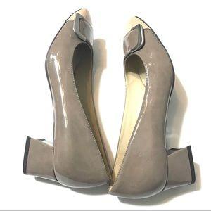 Naturalizer Nude Patent Leather Block Heel Pumps